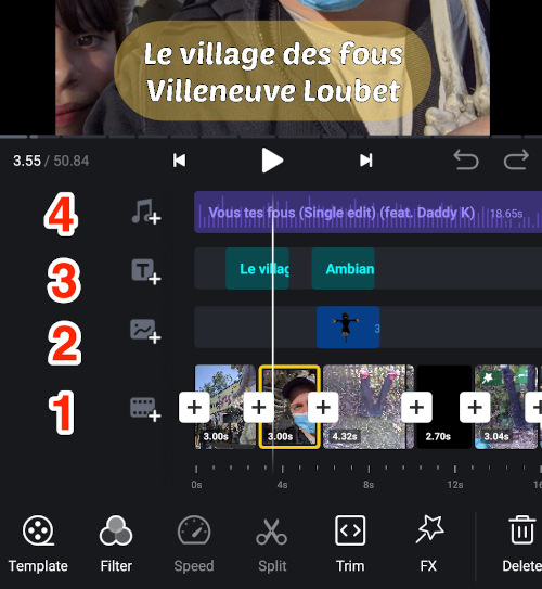 timeline d'édition de VN Vidéo editor